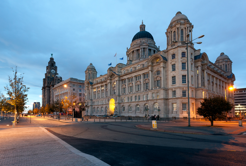 Three Graces and Liver building on waterfront in Liverpool